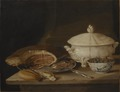 Still Life with Ham on a Pewter Dish, a Faience Set and a Bowl of Gooseberries and Red Currants - Nationalmuseum - 23927.tif