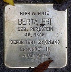Photo of Berta Ert brass plaque