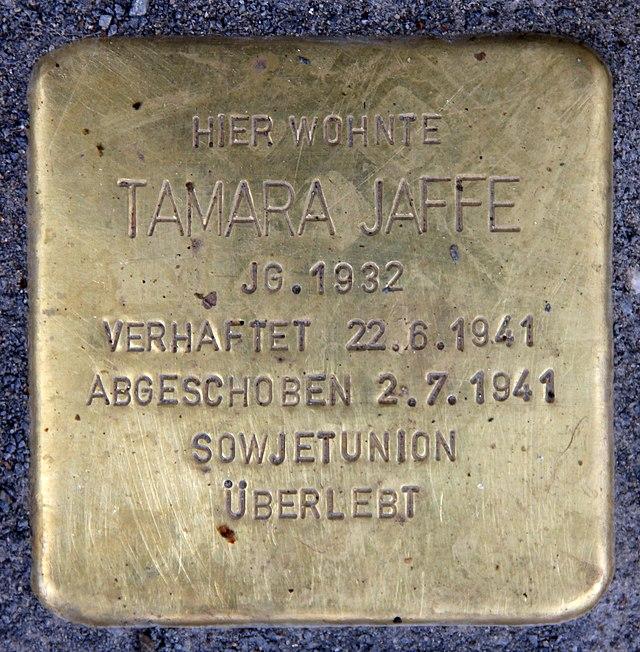 Photo of Tamara Jaffe brass plaque
