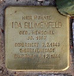 Photo of Ida Blumenfeld brass plaque