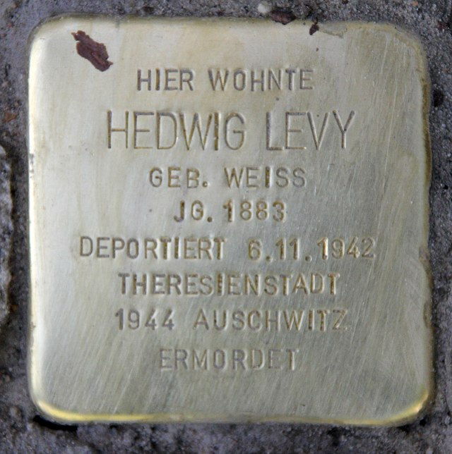 Photo of Hedwig Levy brass plaque