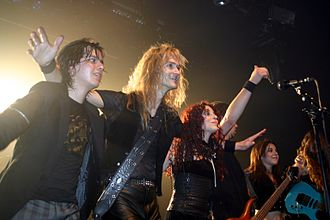 Stream of Passion - The original Stream of Passion line-up in 2007. Left to right: Alejandro Millán, Arjen Anthony Lucassen, Marcela Bovio, Johan van Stratum, backing vocalist Diana Bovio, and Lori Linstruth.