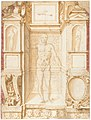 Study of a Figure in a Niche (Saint Ambrose; recto); Architectural Studies- Four Alternative Designs for Fictive Niches and an Unrelated Design with Garlands (verso), ca. 1560-67 MET DP130993.jpg
