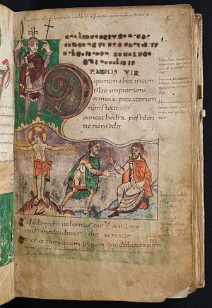 Stuttgart Psalter - Beatus vir page, Psalm 1