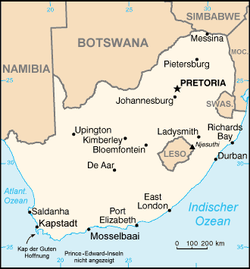 Map indicating locations of South Africa and Swaziland