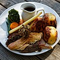 Sunday roast five meat at The Black Lion, High Roding, Essex, England (cropped).jpg