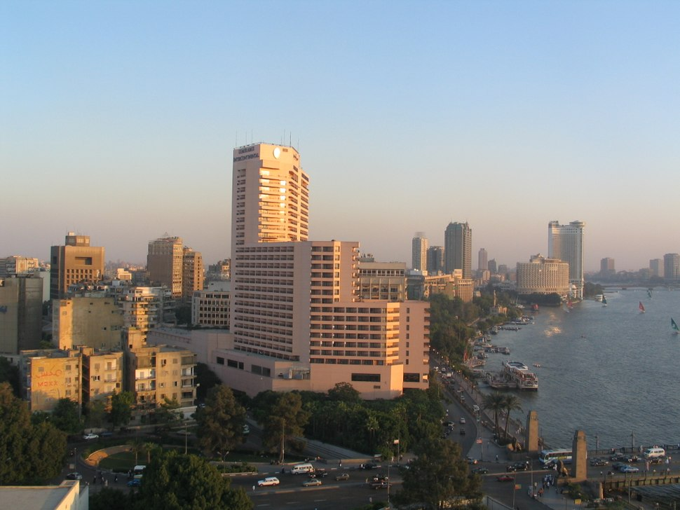 Sunset over Nile and Cairo