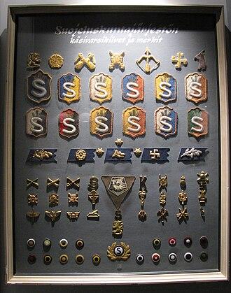 White Guard (Finland) - A selection of Suojeluskunta insignia