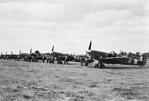 RAF Tangmere - A line of Supermarine Spitfire Mark VBs of No. 131 Squadron RAF, being prepared for a sweep at Merston, a satellite airfield of Tangmere