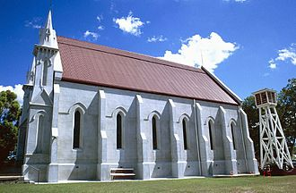 Surface Hill Uniting Church - Side view of the buttresses, 1997