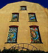 Sutton twin towns mural sunlit in June, SUTTON, Surrey, Greater London (2).jpg