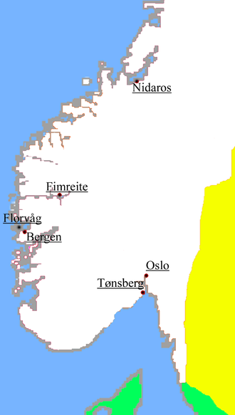 Sverre of Norway - Locations of the most important battles during Sverre's reign