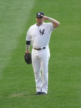 Bleacher Creatures - Nick Swisher salutes the Bleacher Creatures during roll call