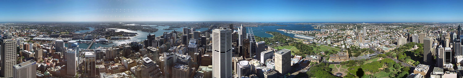 Pohled na City of Sydney ze Sydney Tower