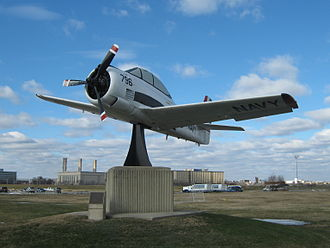 Naval Support Facility Anacostia - T-28 Trojan, BuNo 137796, memorial near the main gate, the last T-28 in the Training Command, retired March 1984.