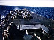 TBM Avengers warming up aboard USS Enterprise (CV-6), May 1944