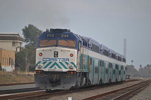 Coaster (commuter rail) - A Coaster departing Oceanside in July 2011.