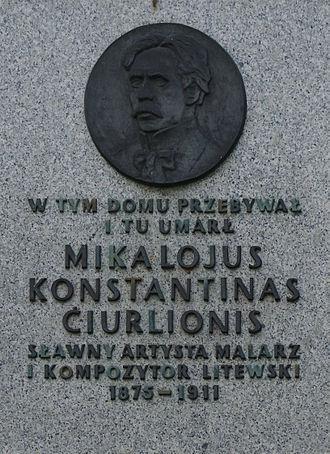 Marki - Image: Tablica upamiętniająca Mikalojusa Konstantinasa Čiurlionisa na Czerwonym Dworze w Pustelniku w Markach