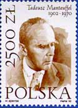 Tadeusz Manteuffel - Polish 2,500-złoty postage stamp issued 1992, commemorating the 90th anniversary of Tadeusz Manteuffel's birth.