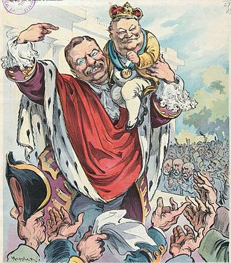 William Howard Taft - Roosevelt introduces Taft as his crown prince: Puck magazine cover, 1906.