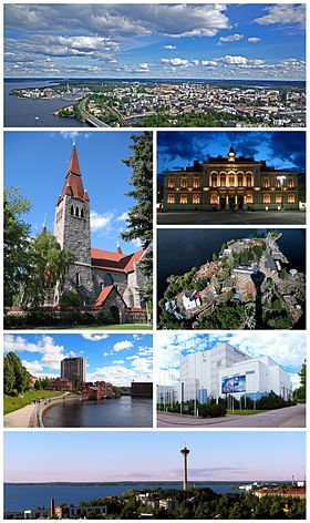 Clockwise from top-left: the cityscape (viewed from Näsinneula); Tampere City Hall; Särkänniemi (from Näsinneula); Tampere Hall; the skyline with Näsinneula; Tammerkoski from Hämeensilta Bridge; and the Cathedral.
