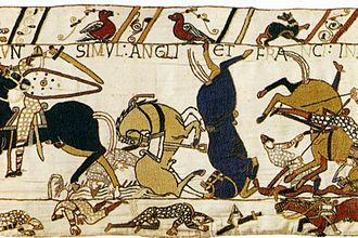 Military art - A small segment of the 70 metres (230 ft) long Bayeux Tapestry.