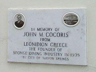 John Cocoris - Plaque in Tarpon Springs, Florida commemorating Cocoris.