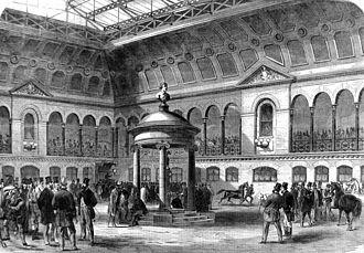 Tattersalls - Tattersall's new premises in Knightsbridge in 1865.