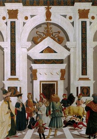 Miracles of St Bernardino - Image: Tavolette di s. bernardino, 1473, san bernardino guarisce nicola di lorenzo da prato travolto da un toro