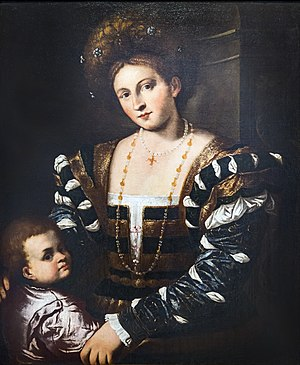 Pietro della Vecchia - Portrait of a young lady with a child Teatro Olimpico
