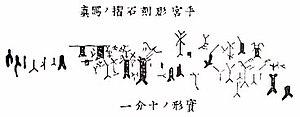 Hokkaido characters - Rock art in Temiya Cave