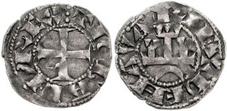 Theobald II of Navarre - A dinero from Theobald II's reign, bearing the inscription Tiobald rex de Navarie