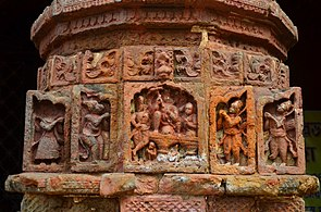 Terracotta work on archway pillars of Aatchala Dakshina Kali temple at Malancha at Paschim Medinipur district in West Bengal 02.jpg