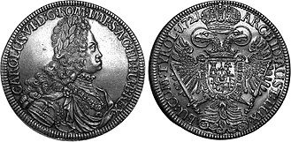 Charles VI, Holy Roman Emperor - Charles VI on a silver Thaler, 1721
