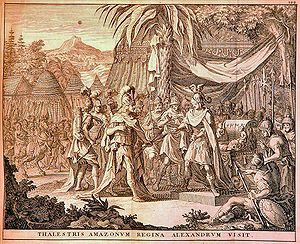 Amazons - Thalestris, Queen of the Amazons, visits Alexander (1696)
