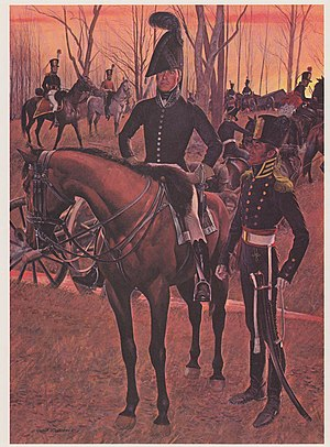 Medical Corps (United States Army) - The horseman in the foreground is an infantry surgeon in the uniform adopted in January 1812.
