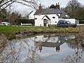 The Carpenters' Arms, Coldred, reflected in the pond - geograph.org.uk - 643680.jpg