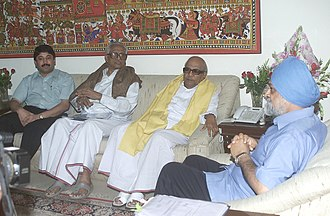 M. Karunanidhi - The Chief Minister of Tamil Nadu, Karunanidhi meeting the Deputy Chairman of Planning Commission, Montek Singh Ahluwalia to finalise plan for the financial year, in New Delhi on June 6, 2006