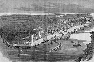 Culture of New Orleans - Bird's-eye view of New Orleans in 1862
