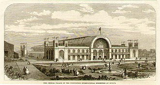 "1865 International Exhibition - Woodcut engraving published in ""The Illustrated London News"" of the Palácio de Cristal which was constructed specially for the exhibition, 1865"