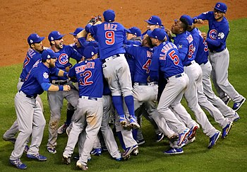 The Cubs celebrate after winning the 2016 World Series. (30658637601) (2).jpg