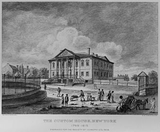 Bowling Green (New York City) - Government House as the Custom House, 1799–1815, Bowling Green shown on the left