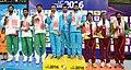 The Gold Medallist of India Vijay Kumar, Gurpreet Singh and Ashay Suhas Asthaputre, Silver Medallist of Pakistan Ghulam Mustafa Tabassum.jpg