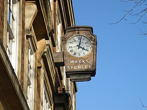 English: The Marks and Spencer clock Marks is ...