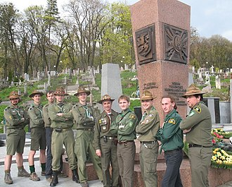"Plast - Members of the Plast at a reunion at the ""Monument of the SS-Galicia and Ukrainian National Army"" at (Lychakivskiy Cemetery), in Lviv April 2008."