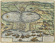 The Ottoman fleet attacking Tunis at La Goulette Braun and Hogenberg 1574