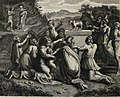The Phillip Medhurst Picture Torah 453. Worshipping the golden calf. Exodus cap 32 vv 5-19. after Raffaelle.jpg