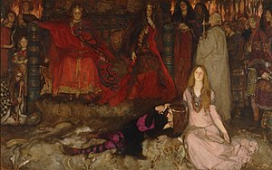 Prince Hamlet - Hamlet reclines next to Ophelia in Edwin Austin Abbey's The Play Scene in Hamlet.