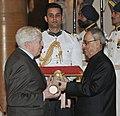 The President, Shri Pranab Mukherjee presenting the Padma Shri Award to Prof. Jacques Blamont, at a Civil Investiture Ceremony, at Rashtrapati Bhavan, in New Delhi on April 08, 2015.jpg
