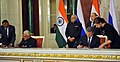 The Prime Minister, Shri Narendra Modi and the President of Russian Federation, Mr. Vladimir Putin witnessing the signing of agreements, at Moscow, in Russia on December 24, 2015 (4).jpg